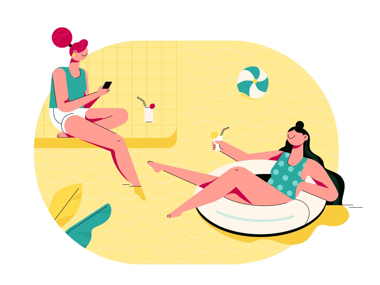 Swimming pool vacation girls summer summertime swimming pool vector illustration illustraion happy design character design fireart studio fireart cartoon character art