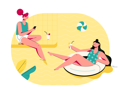 Swimming pool vacation girls summer summertime swimming pool vector illustration illustraion happy design character design fireart studio fireart cartoon character art