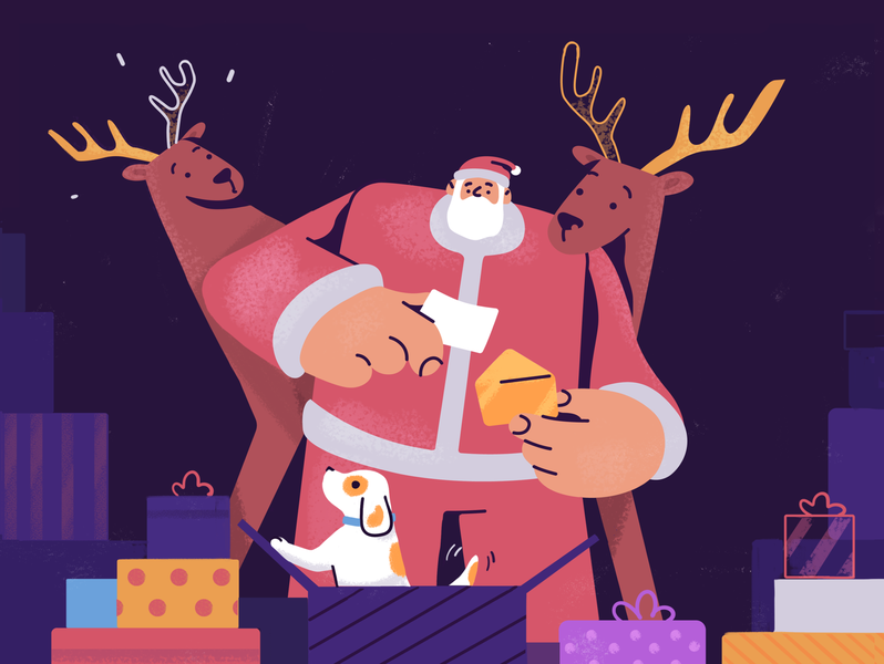 Gift for Santa new year present gifts puppy christmas santa claus santa happy illustration design character design fireart studio fireart cartoon character art
