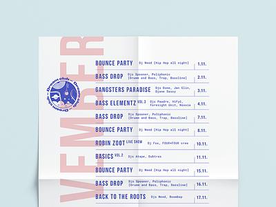 Party Menu calendar flyer poster mono blue menu typography list light simple