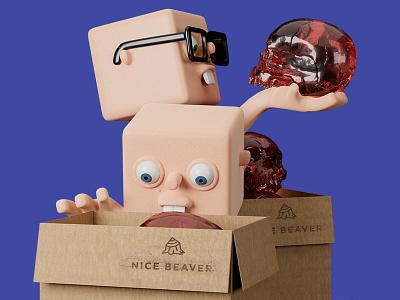 Nice Beaver - unpacking beaver skull boxes 3d illustration