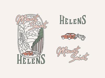 Mt St Helens 1980 Volcanic Eruption simple line art old car illustration branding handlettering lettering forest northwest pnw fir trees volcanoe eruption mount saint helens