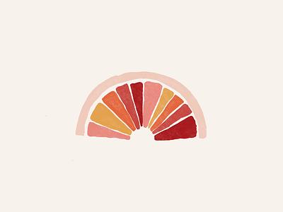 Baked Blood Orange blood orange citrus fruit watercolor pale pinks boho colorful fun illustration clean cute simple