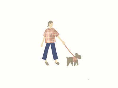Girl + Pup simple illustration fun colors minimal cute cute illustration illustration puppy girl