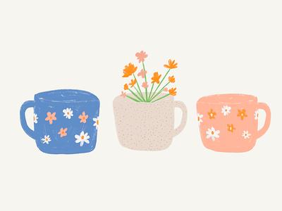 Three Cups of Morning speckled mug pink mug blue mug speckles daisy daisies cute illustration mugs mug coffee coffee cup morning coffee