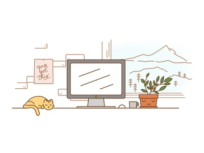 Portland Desktop Scene desktop mac mac macbook illustration desk line art desk illustration portland design desktop desktop scene desk scene mount hood portland