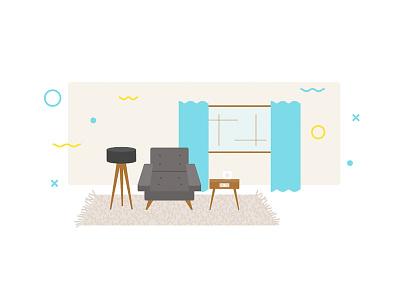 Living Room Scene house illustration living room