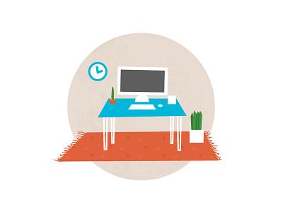 Desk Scene clock plant rug mac workspace desk illustration