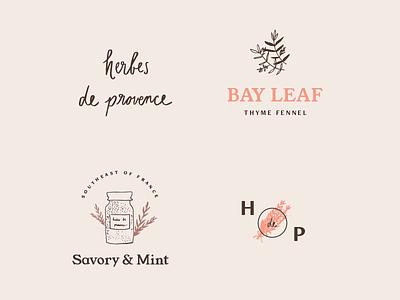 herbes de provence set type typography illustrations logos