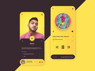 Daily UI 009 - Music Player ritviz black and yellow yellow daily ui 009 daily 100 challenge daily ui dailyui daily music app music player music