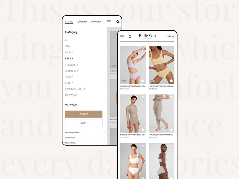 Belle You | mobile mobile app design bra clothes lingerie mobile design mobile app uxui design uidesign ui design ui
