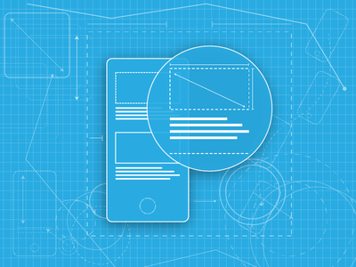 Blueprint/Wireframe magnify ux ui flat mobile prototype wireframe blueprint
