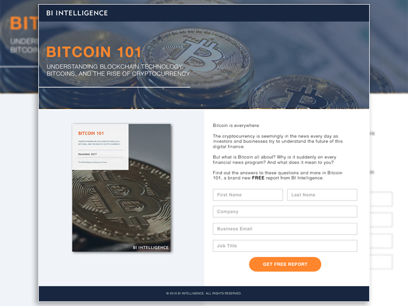 Bitcoin 101 Lead Gen Landing Page web design sign up lead gen landing page flat icon page bitcoin flat report ebook design