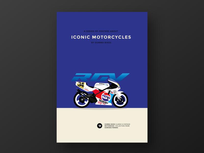 ICONIC MOTORCYCLES BY DUMMA BIKES, Suzuki RGV 500 cool typography logos vector branding design illustration motogp kevin dummabikes rgv500 suzuki rgv