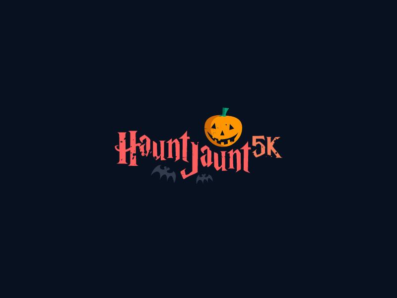 Haunt Jaunt 5k Halloween event logo hauntjaunt mark monogram word simple icon brand logos wordmark clever pumkin halloween