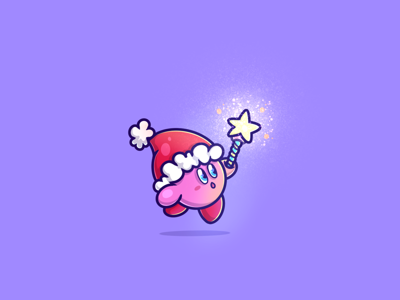 lil Kirby! 👻 cute kawaii digital art procreate kirby christmas newyear