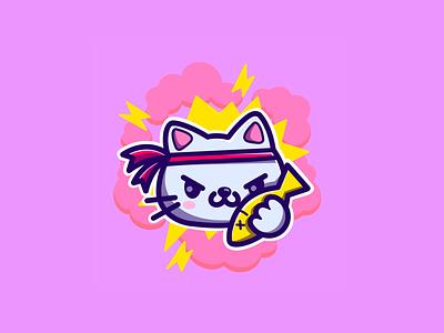 the logo for app 🐱 flat pink purple kawaii nyan cat procreate art digital logo