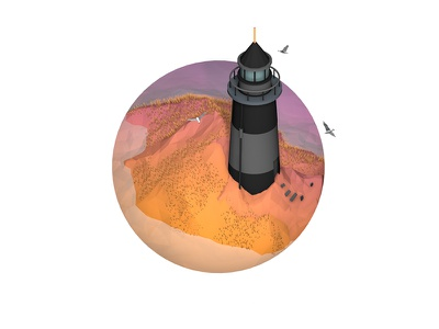 Countryside series - The Lighthouse iso landscape 3d isometry orange purple chalet island trip water low poly