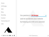 adventures.io Homepage with vertical menu navigation