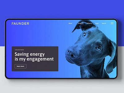 Faunder logo application dog blue julian hrankov germany energy devce smart home smart logo faunder