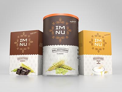 Im Nu Packaging im nu packaging package packshot barley rye crops brown yellow orange chocolate milk honey
