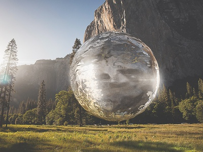Reflections on reflections. mountain landscape transparent ripple cinema4d c4d 3d water
