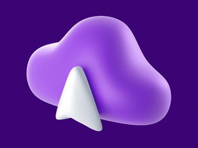 cloud purple cinema4d c4d arrow upload cloud 3dicon 3d icon
