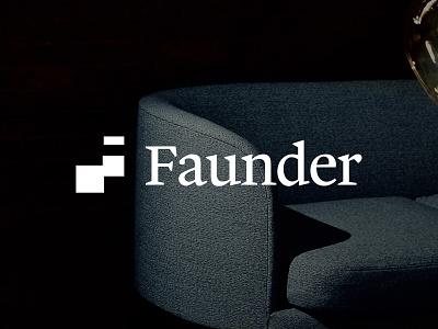 Faunder Logo No.02 germany real estate smart home home graph negative space serif blue branding logo f faunder
