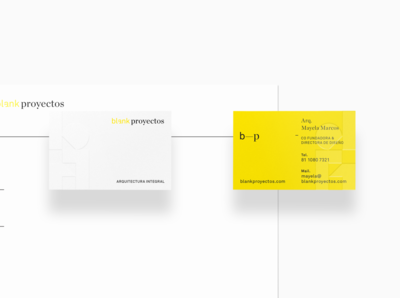 Business cards for Blank Proyectos®, an architecture firm.