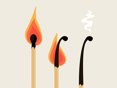 Burnout Presentation - Burning Matches vector illustration matches burnout