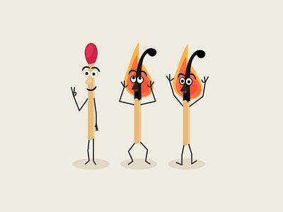 2/3 Burned Matches burn matches match burnout vector illustration