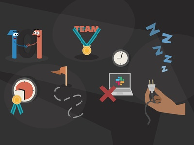 healthy habits set teams team work developers figma tech habits burnout vector illustration