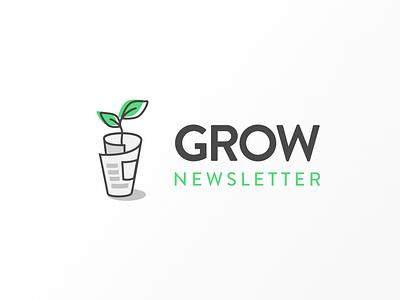 Grow Newsletter identity branding newspaper plant branding logodesign logo vector grow newsletter