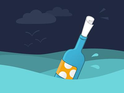 message in a bottle waves see ocean flat illustration illustrator vector illustration illustration message bottle