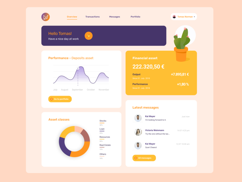 Dashboard Financial Asset - eCactuX UI study case study case figma desktop app finance app assets dashboard design dashboard app dashboard ui dashboad ui