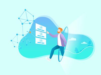 Identity Management blockchain landing page illustration management identity token development services figma illustration vector