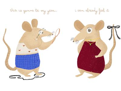 Lunar New Year cute animals illustration rat lunarnewyear