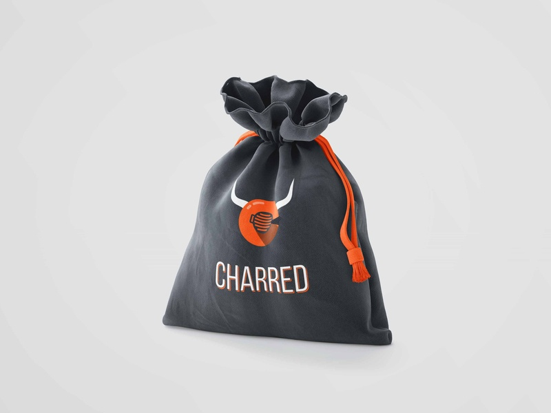 Charred - Bag Packaging Mockup typography minimal logo flat vector identity first shot clean logodesign hellodribbble branding concept branding and identity branding design hello dribbble branding agency branding