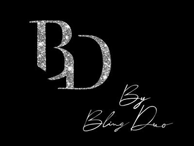 Bling Duo Logo texture sparkle silver diamonds bling design logo