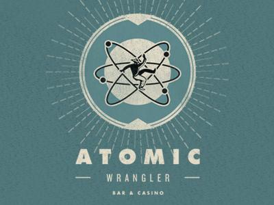 Atomic Wrangler futura knockout vegas retro vintage logo bar casino