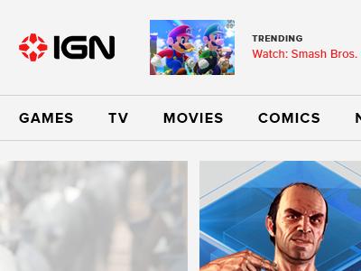 IGN.com Reimagined ign gaming red black gray proxima nova