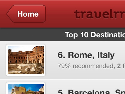 Travelerr - Top 10 Destinations red gray white iphone app pluto helvetica neue