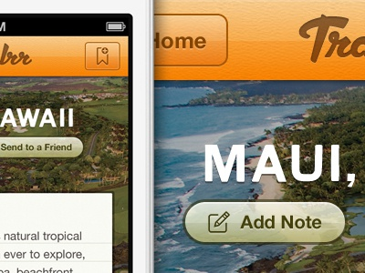 Travelrr 4 iphone app orange green earth tone helvetica neue geomicons landry gothic dynascript