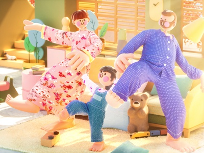 Sunshine and family octane love happy house home kid child mother father plant family toy character people lllustration c4d indoor cinema 4d blender 3d
