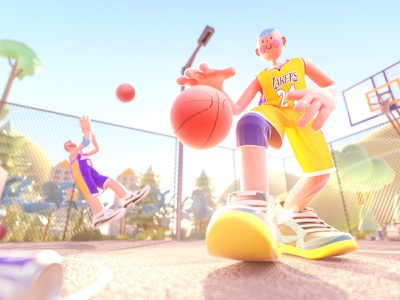 Basketball happy sportswear sweating brother child kid plant basketball court boys outdoor basketball sport people character cinema 4d illustration octane blender c4d 3d