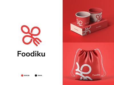 Foodiku icon app food logo ui typography illustration minimal logo design branding