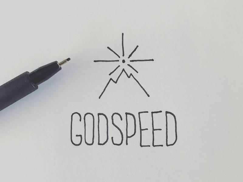 GodSpeed star mountain mono line thin line single line pen doodle type logo sketch
