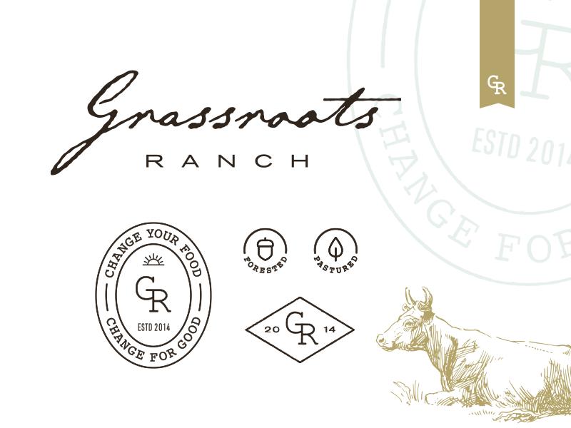 GRR v1 agriculture sustainable food brand monogram farm beef script label emblem ranch