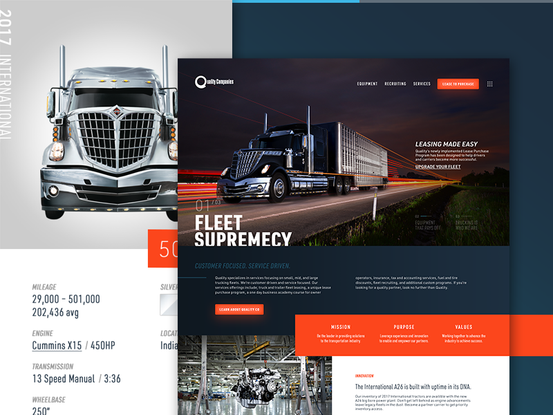 Quality Co modular clean modern automotive semi trucking responsive mobile website ux ui