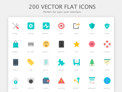 200 Vector Flat Icons